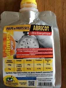 Produit Ultimum : Vous pouvez voir ici l'analyse nutritionnelle pour la gourde à l'abricot.