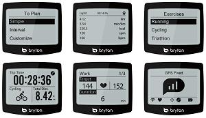 Quelques exemples d'affichage pour cette montre GPS Bryton. © Bryton