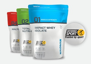 nutrition sportive Myprotein avec logo HFL Informed Sport