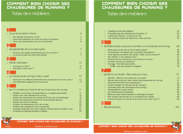 tables guide chaussure