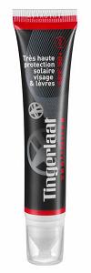 La couleur rouge de ce tube de 20 ml permet de reconnaitre la crème protection solaire SPF 50+ © Tingerlaat
