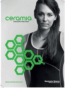 Nastasia Noens, plusieurs podiums en coupe du monde de ski alpin, est aussi une ambassadrice de ces vêtements de sport. © Ceramiq