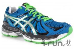 J'aime bien aussi cette version en bleu. Les lacets verts avec la semelle extérieure de la même couleur me séduisent. Egalement chez notre partenaire I-Run.