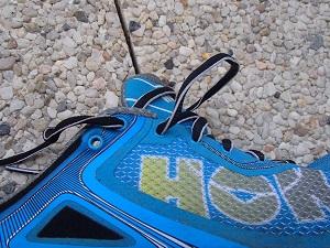 """Les lacets de cette chaussure Hoka Bondi 4 sont moins """" révolutionnaires """". © Testeurs-Outdoor"""