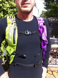 L'avant du sac trail et de ses 2 grosses poches.