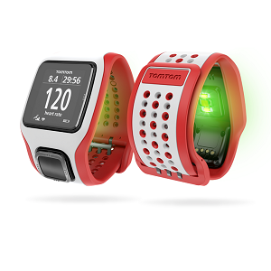 La capteur Mio (lumière verte) est intégré dans cette montre GPS Tomtom Runner. © Tomtom