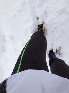 La neige ne retardera pas le test des vêtements de sport Ceramiq. © Testeurs Outdoor